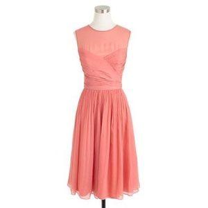 J Crew Coral Clara Dress in Silk Chiffon